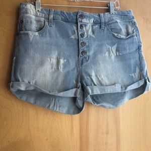 Mossimo faded jeans shorts with white stars 16